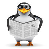 3d Penguin reads the news. 3d render of an academic penguin reading the newspaper Royalty Free Stock Photography