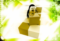 3d penguin rearrange cubes illustration Royalty Free Stock Photography