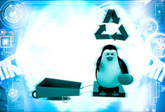 3d penguin with recycle symbol and wheel borrow illustration Stock Photos