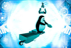 3d penguin with recycle symbol and wheel borrow illustration Royalty Free Stock Image
