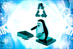 3d penguin with recycle symbol and wheel borrow illustration Royalty Free Stock Images