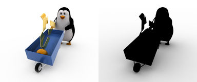 3d penguin with recycle symbol and wheelborrow concept collections with alpha and shadow channel Royalty Free Stock Images