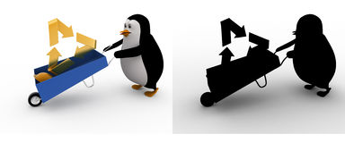 3d penguin with recycle symbol and wheelborrow concept collections with alpha and shadow channel Royalty Free Stock Photography