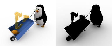 3d penguin with recycle symbol and wheelborrow concept collections with alpha and shadow channel Stock Images