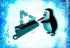3d penguin with recycle symbol and wheelborrow illustration Stock Image
