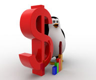 3d penguin with red dollar symbol and growth of graph concept Royalty Free Stock Image
