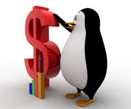 3d penguin with red dollar symbol and growth of graph concept Stock Image