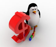 3d penguin with red dollar symbol and growth of graph concept Stock Photo