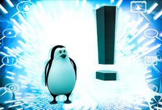 3d penguin with red exclamation mark illustration Royalty Free Stock Images