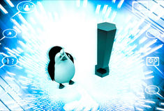 3d penguin with red exclamation mark illustration Stock Photos