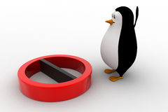 3d penguin with red no entry or stop symbol concept Stock Image