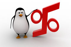 3d penguin with red percentage symbol concept Stock Images