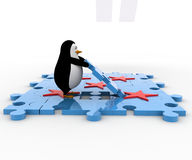 3d penguin with red star and blue jigsaw puzzle concept Stock Image