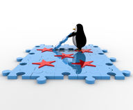 3d penguin with red star and blue jigsaw puzzle concept Stock Photo
