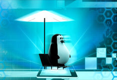 3d penguin relax concept Stock Photo