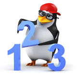 3d Penguin 123. 3d render of a penguin with numbers Stock Image