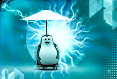 3d penguin resting in holidays under umbrella concept Stock Image