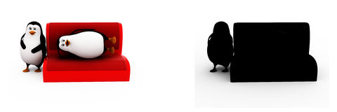 3d penguin resting on sofa concept collections with alpha and shadow channel Stock Photography