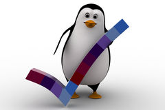 3d penguin right symbol from colourful cubes concept Royalty Free Stock Photo