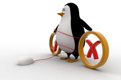 3d penguin with right and wrong and mouse of computer concept Royalty Free Stock Photo