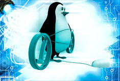 3d penguin with right and wrong and mouse of computer illustration Royalty Free Stock Image
