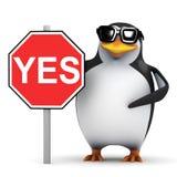 3d Penguin roadsign says Royalty Free Stock Photo