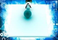 3d penguin rolling big blue ball illustration Royalty Free Stock Photo