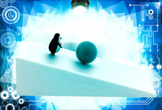 3d penguin rolling big blue ball illustration Stock Photo
