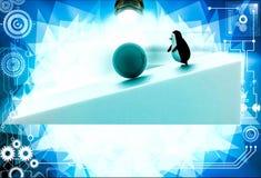 3d penguin rolling big blue ball illustration Royalty Free Stock Photos