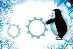3d penguin rolling metal cogwheel gear illustration Stock Image