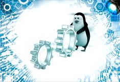 3d penguin rolling metal cogwheel gear illustration Stock Photos