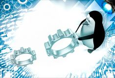 3d penguin rolling metal cogwheel gear illustration Stock Photo