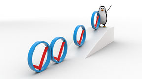 3d penguin rolling  right symbol from top of the slope concept Royalty Free Stock Photo