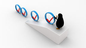 3d penguin rolling  right symbol from top of the slope concept Stock Photo