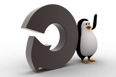 3d penguin with round shaped arrow concept Stock Images