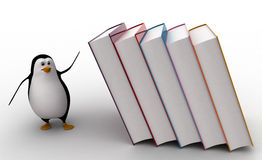 3d penguin running from falling big books on him concept Stock Photos