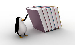 3d penguin running from falling big books on him concept Royalty Free Stock Photography