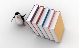 3d penguin running from falling big books on him concept Stock Photography