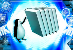 3d penguin running from falling big books on him illustration Stock Photo