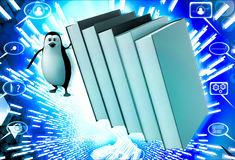 3d penguin running from falling big books on him illustration Royalty Free Stock Photography