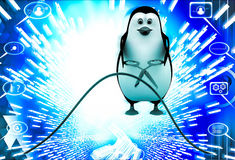3d penguin running from falling big books on him illustration Royalty Free Stock Photos