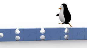 3d penguin running  on puzzle concepts Stock Photography