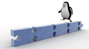 3d penguin running  on puzzle concepts Royalty Free Stock Photo