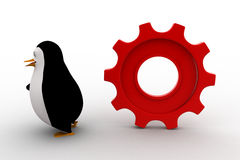3d penguin running from rolling big cogwheel concept Royalty Free Stock Photography