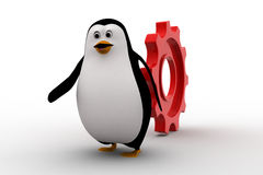 3d penguin running from rolling big cogwheel concept Stock Photo