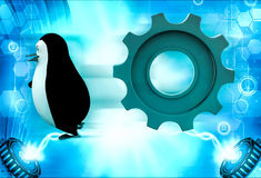 3d penguin running from rolling big cogwheel illustration Stock Photography