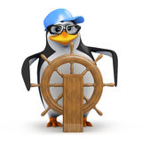 3d Penguin sails his ship Royalty Free Stock Photography