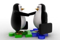 3d penguin shaking hand standing on puzzle shape concept Royalty Free Stock Photography