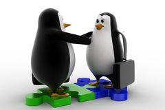3d penguin shaking hand standing on puzzle shape concept Stock Images