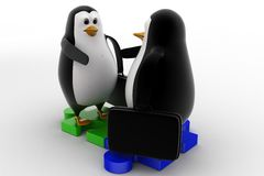 3d penguin shaking hand standing on puzzle shape concept Royalty Free Stock Photo